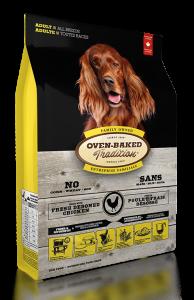 適合一歲至七歲的任何犬種  源自北美洲自由放養的走地雞,絕無注射荷爾蒙與激素。採用原隻走地雞,去皮去骨,不含任何副產品(例如:雞骨頭、雞羽毛、雞腳甲等)。新鮮去骨雞肉提供天然優質的蛋白質,並且富含狗隻維持生命的十種必須氨基酸,對控制和調節身體機能及肌肉發展十分重要。經低溫慢火烘焗後,營養得到保存之餘,鮮嫩雞肉的肉汁會被緊緊鎖住,散發出陣陣濃香。   增進視力、保護眼睛  -藍莓的花青素是所有蔬果中含量最高的,有助保持雙眼明亮。   強化腸胃  -祼麥提供豐富水溶性纖維,有助調節血糖和降低膽固醇,更可促進腸內益菌生長,強化腸胃健康。   提升免疫力  -新鲜走地雞脂肪是Omega6脂肪酸的天然來源,對神經組織及免疫系統起重要保護作用。